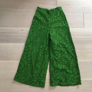 H&M lace green cropped pants